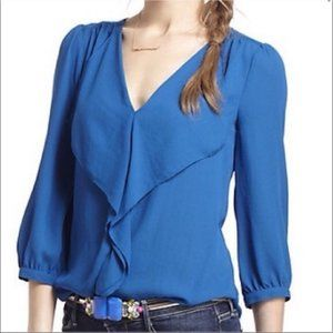 Anthro Maeve Ruffle Front Blouse Top Shirt Blue 12
